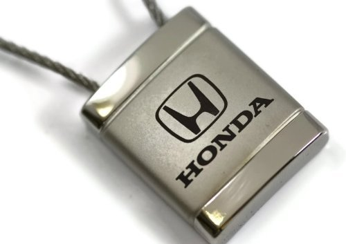 Honda Satin-Chrome Cable Key Fob Authentic Logo Key Chain Key Ring Keychain Lanyard