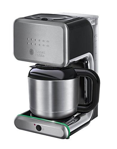 Russell Hobbs 20181-56 Macchina Caffè, Raggiunge Velocemente la Temperatura, Caraffa Termica, 1000W, Finiture Lucide Nere con Inserti in Acciaio Satinato