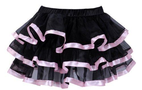 erdbeerloft - Rosa Schwarz Petticoat Tüllrock mit farbigem Saum, S-M, Karneval Kostüm