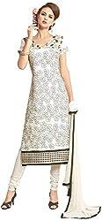 Manmauj Women's Cotton Unstitched Dress Material (MM10053DOFT, White)