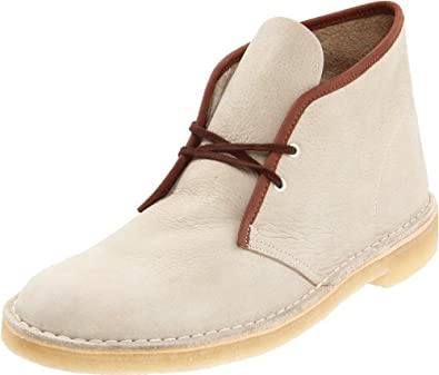 Clarks Men's Desert Boot,Off White Nubuck/Brown,10.5 M US