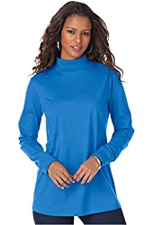 Roamans Women's Plus Size Mockneck Long Sleeve Ultimate Tee