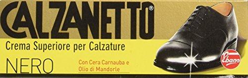 Calzanetto - Crema Superiore per Calzature Con Cera Carnauba e Olio di Mandorle, 50 ML, Colore Nero