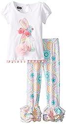 Mud Pie Little Girls Bunny Tunic & Legging Set, White/Pink, 5T