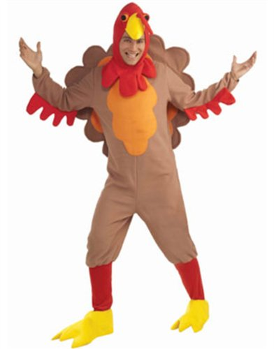 Turkey Costume Adult Thanksgiving Gobbler Bird Mascot Poultry Hat Men Women Tail