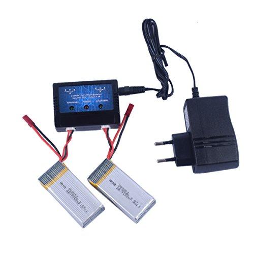 HotFun 1 a 2 caricabatterie e 2 pezzi 7.4V 1200mAh batterie originali per MJX X101 RC Quadcopter ricambi accessori