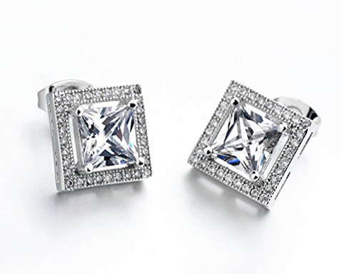 2.00 Carat Ornate Princess Square Cut 8Mm Aaa Cubic Zirconia Stud Earrings Fashion Jewelry For Women 15G
