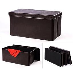 Yuir Brown Foldable Storage Bench Ottoman