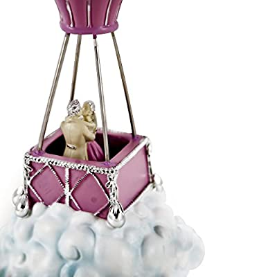 Breath Taking Pink With Silver Accents Couple In Hot Air Balloon Figurine with 18 Note Tune-Three Coins in the Fountain