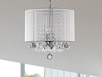 Crystal Chandelier Chandeliers With Large White Shade 3 Lights H14 X W1