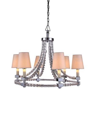 Urban Lights Cristal 6-Light Pendant Lamp with Shades, Polished Nickel