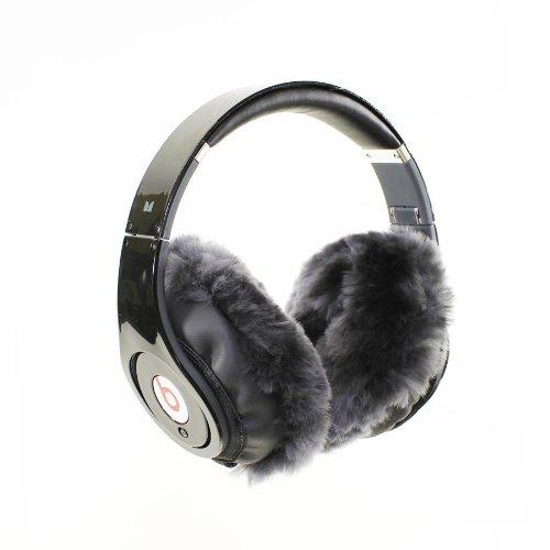Earmuffies - Fur Earmuff Covers For Headphones - Large Sheepskin Charcoal (Fits Beats Beats Studio/Executive And Other Popular Headphones)