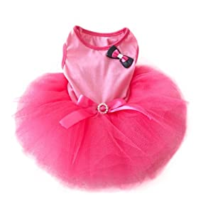 Urparcel Pet Cat Princess Tutu Dress Bow Bubble Skirt Puppy Clothes Dog Dress Apparel Pink S