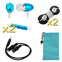 BIRUGEAR 3.5mm Audio Y Extension Cable 1M/2F + 2x Blue Metallic Microphone Headset + 2x Black Headset Wrap + Microfiber Case for Smartphone / Cellphone ; Coby, Create Zen, Sony Walkman, Microsoft Zune, SanDisk Sansa, Apple ipod mini / nano / touch Mp3