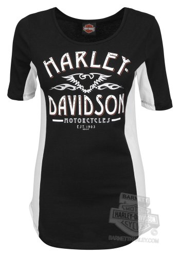 Harley-Davidson Womens Run The Night Open Neck Black Half Sleeve T-Shirt