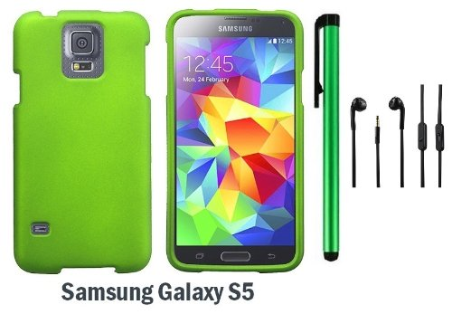 Samsung Galaxy S5 Premium Design Protector Hard Cover Case (2014 March Released; Carrier: Verizon, At&T, T-Mobile, Sprint) + 3.5Mm Stereo Earphones + 1 Of New Assorted Color Metal Stylus Touch Screen Pen (Neon Green)