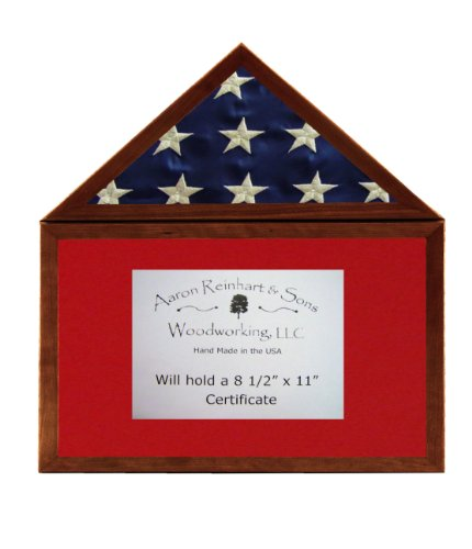 Solid Cherry, Light Stain, Flag Display Case