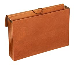 Globe-Weis Standard Letha-Tone File Wallet, 3.5-Inch Expansion, Elastic Cord Closure, Legal Size, Brown, 10-Count (73356)