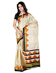 Alethia Yellow Art Silk Casual Wear Printed Sarees Without Blouse Piece