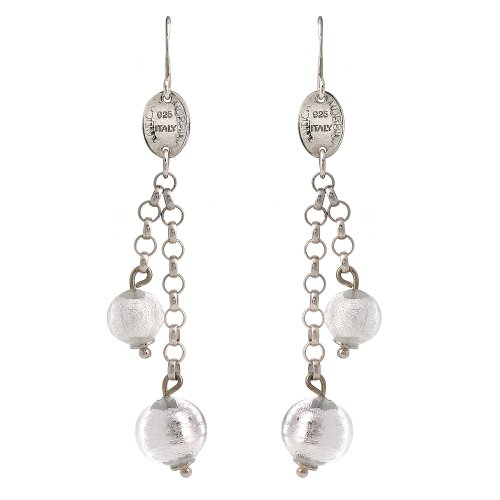 Sterling Silver Murano Glass DoubleStrand Drop Earrings