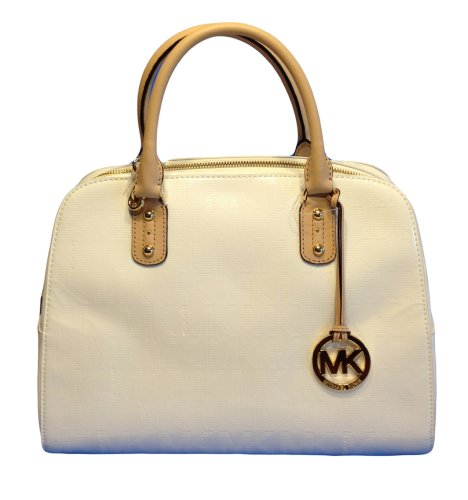 **Brand New** Michael Kors (All Sold Out In Stores) Mirror Metallic Patent Leather Signature Mk Large Satchel Purse Bag White