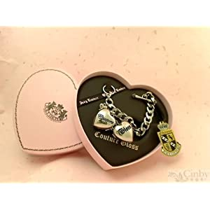 Juicy Couture Silver Charm Bracelet with Two Hearts and Lip Gloss - Crystal/Resort - .012 oz x 2