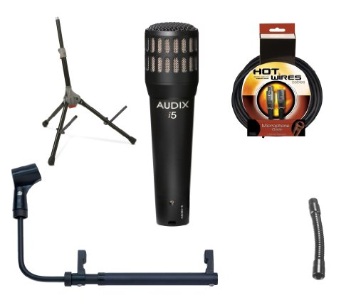 "Audix I5 Instrument Microphone With Cabgrabber Microphone Holder For Guitar Amp, Ultimate Support Amp Stand, 6"" Gooseneck And 20' Xlr Microphone Cable"