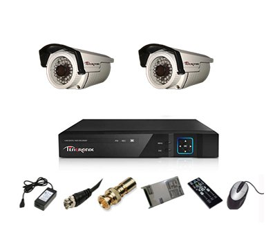 Tentronix T-4ACH-2-BA13 4-Channel AHD Dvr, 2(1.3MP/36IR) Bullet Cameras (With Accessories)