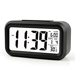 ZHPUAT 5.3 Digital Alarm Clock, Large HD Display, Snooze, Smart Soft Light, Progressive Alarm, Battery Operated, Simple Setting, Temperature Display, Easy for Travel (Black)