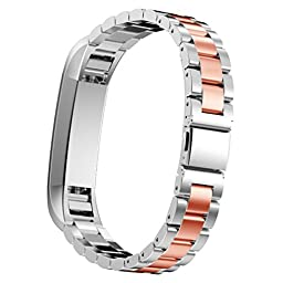 For Fitbit Alta Accessory, HP95(TM) Stainless Steel Watch Band Wrist strap For Fitbit Alta Smart Watch (Rose Gold 1)