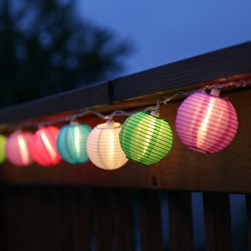 Set of 10 Multi Color Indoor/Outdoor Mini Oriental Style Nylon Lantern Plug-in String Lights, Water Resistant, For Indoor and Outdoor Use - Expandable to 150 Lights (Outdoor Lantern Lighting String compare prices)