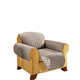 CELINE LINEN REVERSIBLE QUILTED Furniture Protector- Special Treatment Microfiber As soft as Egyptian Cotton, Natural Leaf Chair