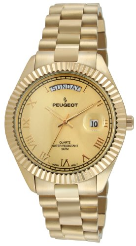 Peugeot 14K All Gold-Plated Day Date Roman Numeral Stainless Steel Big Face Fluted Bezel Luxury Watch 1029G