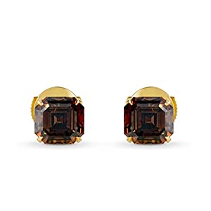 4.36Cts Champagne Diamond Stud Earrings Set in 18K Yellow Gold GIA Cert