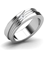 AT Jewellers 14K White Gold Over Sterling White CZ Wedding Band Ring For Women's - B00Z05FZ28