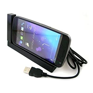 Dockingstation mit USB-Kabel zu Samsung Galaxy Nexus GT-I9250 - Schwarz #D2 - Docking-/Sync-Station, Ladestation, Ladeschale