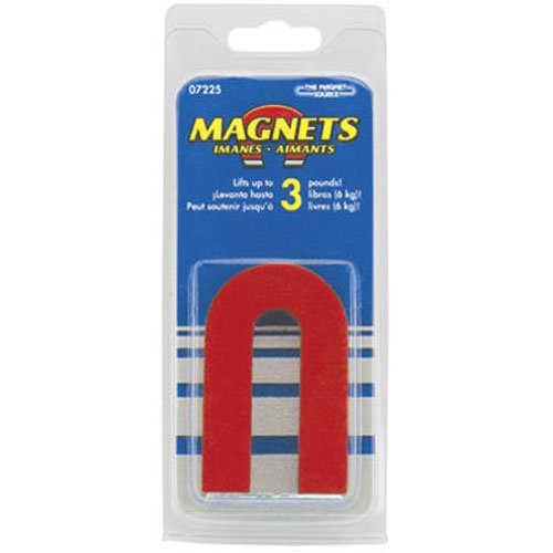 Red Cast Alnico 5 U-Shaped Magnet With Keeper, 1-3/16