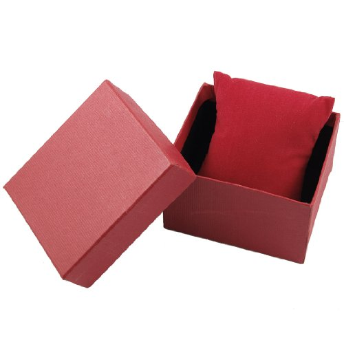 Red Rectangle Gift Wrist Watch Storage Box Case Holder