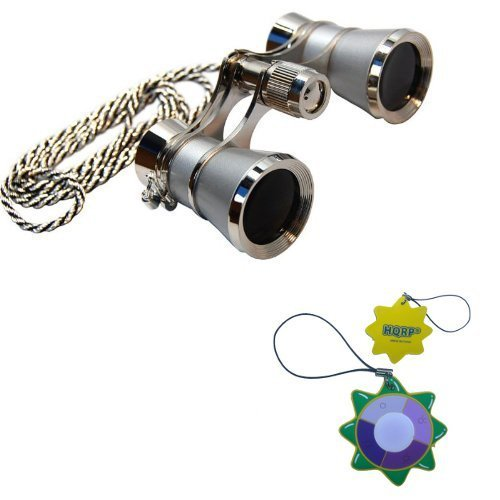 3 X 25 Opera Glasses Platinum With Silver Trim W/ Necklace Chain By Hqrp Plus Uv Meter