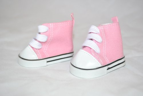 "Unique Doll Clothing High Top Pink Tennis Shoes for American Girl Dolls and Most 18"" Doll - 1"