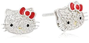 Hello Kitty Sterling Silver 0.10cttw Diamond and Red Enamel Bow Earrings from Hello Kitty