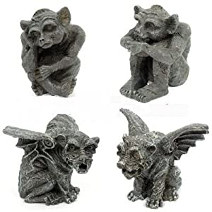 FABULOUS SET OF 4 GOTHIC GARGOYLES HOME GARDEN ORNAMENT