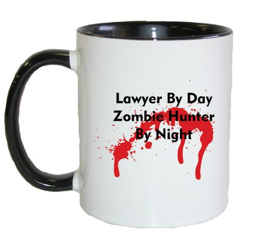 Mashed Mugs - Lawyer By Day Zombie Hunter By Night - Coffee Cup/Tea Mug (White/Black)