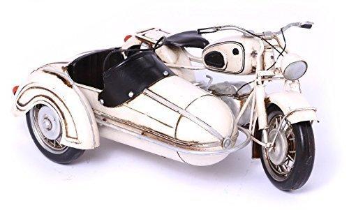 Model Motorcycle BMW R60 Sidecar, white - Retro Tin Model