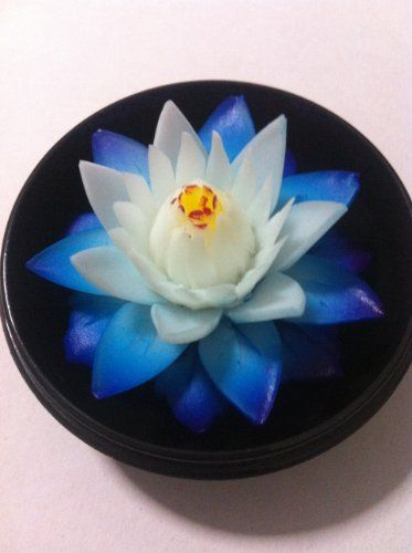 "Soap House® Thai Hand-Carved Soap Flower, 4"" Scented Soap Carving, Blue Lotus In Decorative Pine Wood Case"
