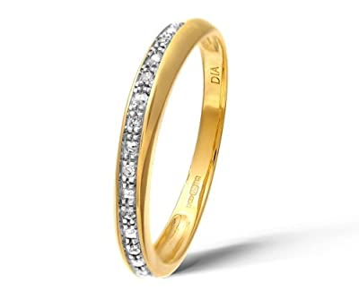 Ariel 9ct Yellow Gold Diamond Pave Set Crossover Effect Half Eternity Ring
