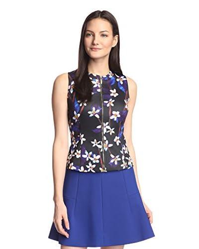 Miss Finch Women's Zip Front Scuba Print Vest