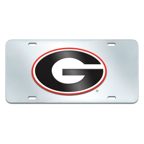 FANMATS NCAA University of Georgia Bulldogs Plastic License Plate (Inlaid) (Bulldogs License Plate compare prices)