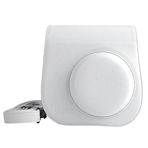Katia Pu Cuir Instax Mini 8 Camera Bag Case for Fujiflim Instax Mini 8 avec bandoulière et Pocket -Blanc