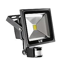 LE 30W Motion Sensor LED Flood Light, Waterproof, Daylight White, 6000K, 75W Bulb Equivalent, Smart PIR Floodlight, for Security, Indoor, Outdoor, Garden, Yard, etc.